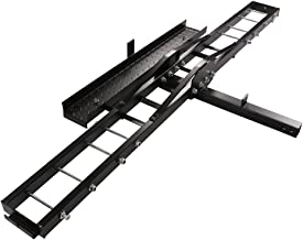 TMS T-NS-MRC001 500-Pound Heavy Duty Motorcycle Dirt Bike Scooter Carrier Hitch Rack Hauler Trailer with Loading Ramp and Anti-Tilt Locking Device