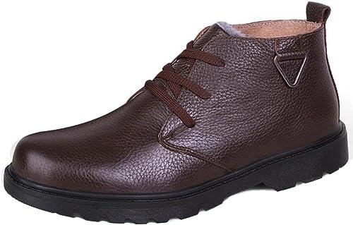 SYYAN Hommes Hiver Hiver Cuir véritable Ajouter du coton Attacher Haut dans le tube Pente avec Martin bottes Noir marron Taille 38-44 , marron , 39  qualité garantie