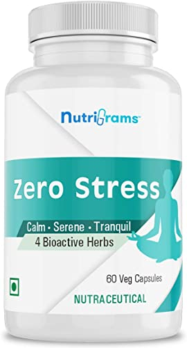 Nutrigrams Zero Stress Anti stress Capsules Reduces Anxiety Mood Swings and Tension Promotes Sound Sleep 4 Bioactive Herbal Extracts 60 Veg Capsules