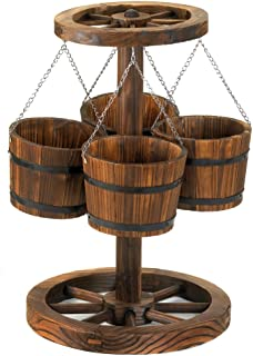 Wood Wagon Wheel Themed Planter with Buckets