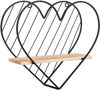 Étagère Métal flottant étagère murale en forme de coeur géométrique Support de rangement Décoration murale, for Salon Sall...