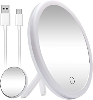 AHOOH Led Makeup Mirror with Lights,Detachable 10X Magnification Travel Vanity Mirror Touch Screen Switch, USB Operated