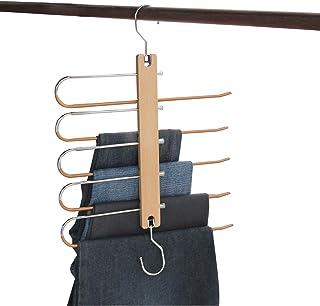 SUNTRADE Cintres magiques pour pantalons, économisant de l'espace - Cintres à 5 couches en métal massif et bois - Organise...
