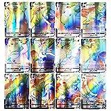 Cartas Pokémon, Tarjetas de Pokémon, Juego de Cartas de Pokemon de 60 Piezas, Cartas de Juego de Dibujos Animados, Tarjetas de Comercio GX con 50vmax+1oranguru+9energy Cartas, Regalos para Niños