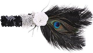 Sharplace Diadema de Boda Nupcial Cinta de Cabeza de Pluma de Pavo Real Lentejuela Flapper Tocado Época 1920s Great Gatsby Tocado Disfraz para Fiesta de Iglesia