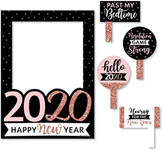Big Dot of Happiness Rose Gold Happy New Year - 2020 New Year's Eve Party Selfie Photo Booth Picture Frame and Props - Printed on Sturdy Material
