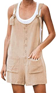 comprar comparacion Luckycat Monos Mujer Verano Bermuda Button Front Mono Corto para Mujer Mono Corto Mujeres Playa de Mujer Pantalones de alg...
