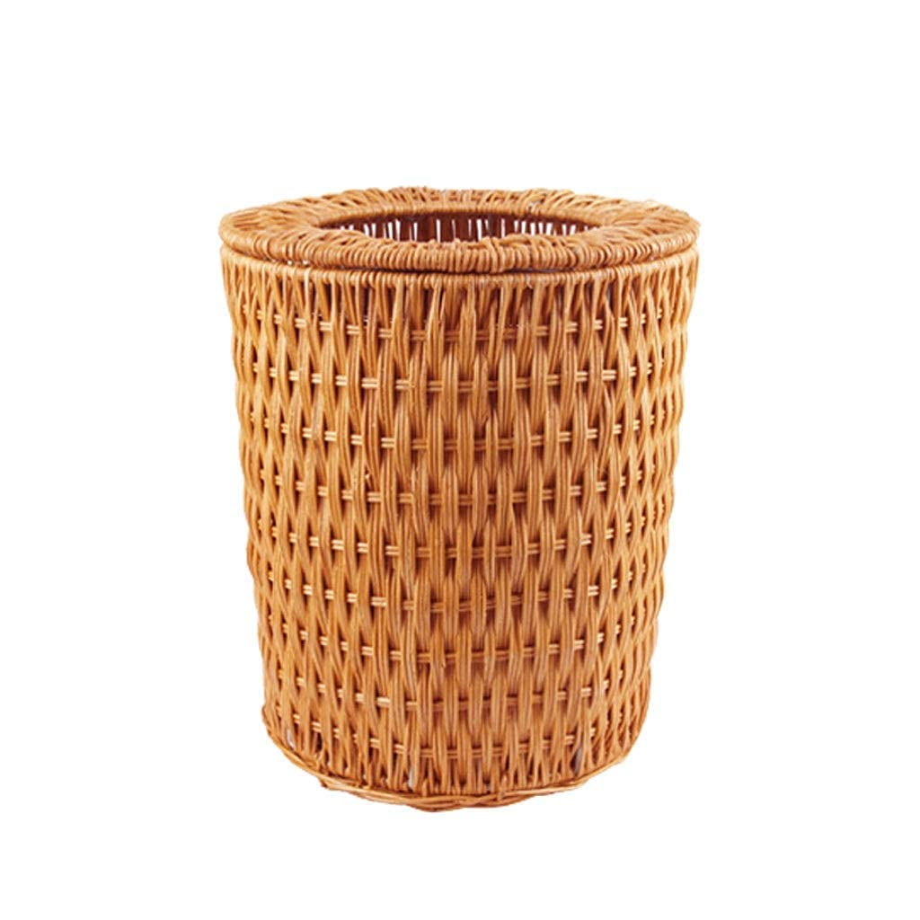 Year-end gift Tedyy Round Rattan Trash Can List price Lid Without Ring Pressure