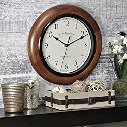 FirsTime & Co. Walnut Round Wall Clock, 11