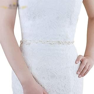LUKEEXIN Bridal Belt Pearl Belt Wedding Dress Accessories (Color : Champagne)