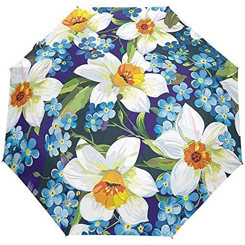 Acquerello Nontiscordardime Narciso Fiore floreale Ombrello aperto automatico Ombrello pioggia solare Ombrello automatico compatto pieghevole anti UV