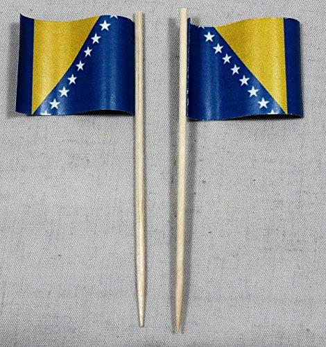 Buddel-Bini Party-Picker Flagge Bosnien Herzegowina Papierfähnchen in Spitzenqualität 50 Stück Beutel