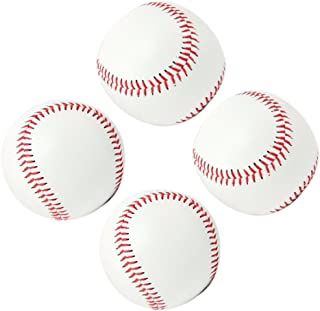 "Smartlife15 Practice Baseballs,  Soft Baseballs Reduced Impact Safety Baseballs,  Standard 9"" Adult Youth Leather Covered Soft Balls Team Game Competition Training,  4Pack (Rubber Center(White))"
