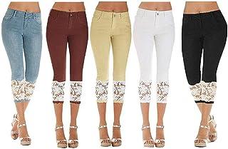 11585fae743b0 7/8 Pantalons Dames Couleur Unie Épissure Dentelle Haute Taille breal en  Slim Fit Pantalon