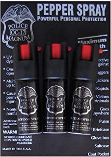 3 Police Magnum Pepper Spray 1/2oz Ounce with Safety Lock Self Defense