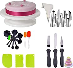 Deetto Cake Decorating Kits Cake Turntable, 12 Numbered Cake Decorating Tips,3 Palette Knives, 3 Icing Smoother, 1 Silicone Piping Bag, 1 Set Brush Spatula, 8 pc Measuring Cup & Spoons
