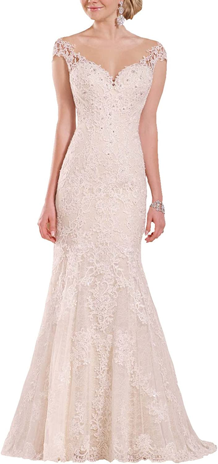 Changjie Women's Cap Sleeves Beadiing Bridal Gown Lace Applique Wedding Dress