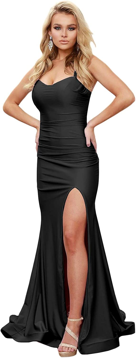 ZMOVQA Wome's Sheath Long Prom Dress Spaghetti Slit Straps 55% OFF High quality new with