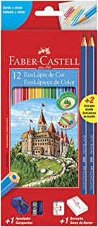 Kit Escolar Lápis de Cor EcoLápis 12 Cores, 2 Lápis Max, 1 Apontador Simples e 1 Borracha, Faber-Castell