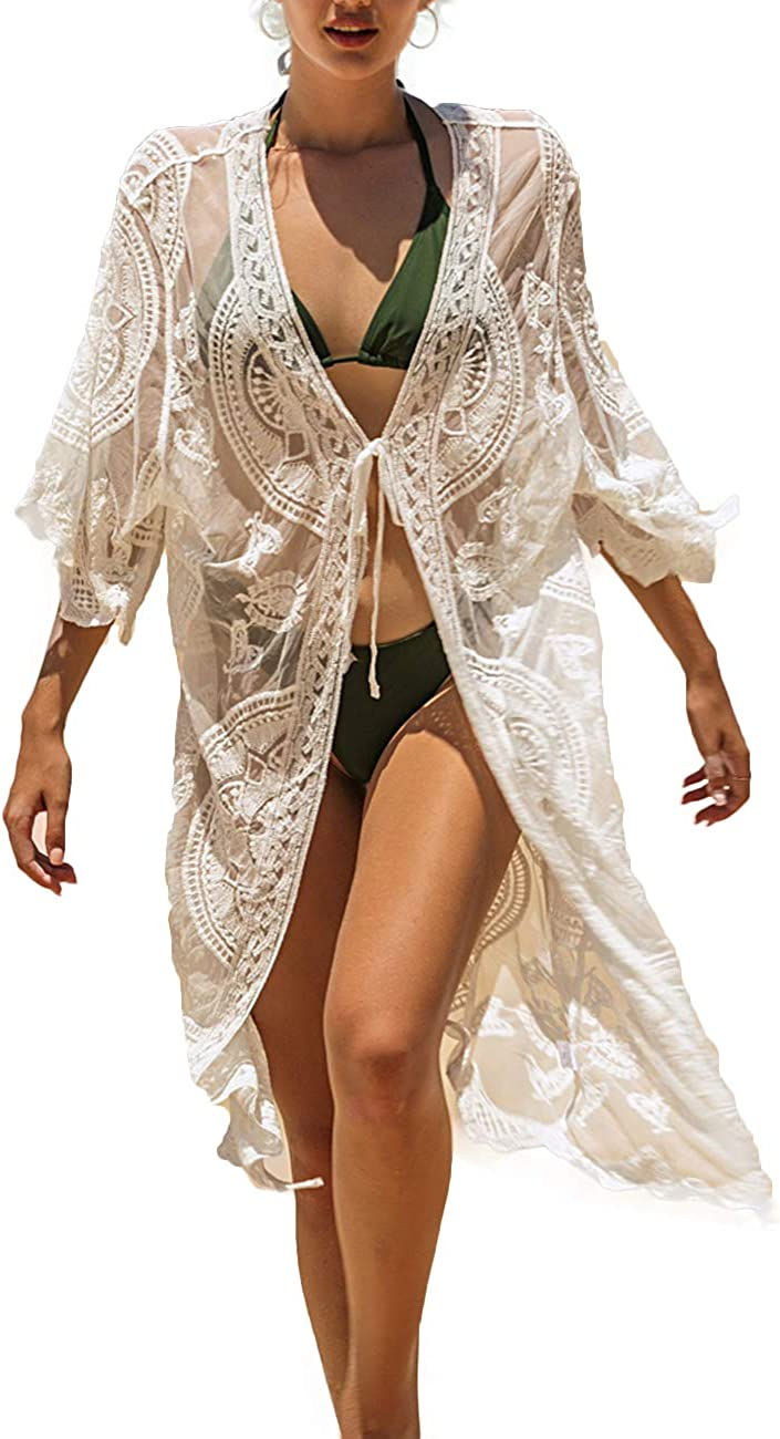 Women's Sexy V Neck Half Sleeve Long Floral Embroidered Lace Kimono Cardigan Swimsuit Cover Ups