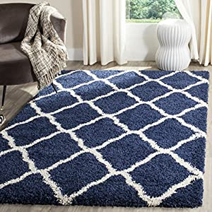 SAFAVIEH Hudson Shag Collection SGH283C Moroccan Trellis Non-Shedding Living Room Bedroom Dining Room Entryway Plush 2-inch Thick Area Rug, 8′ x 10′, Navy / Ivory