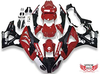 VITCIK (Fairing Kits Fit for BMW S1000RR 2012 2013 2014 S 1000 RR 12 13 14 Plastic ABS Injection Mold Complete Motorcycle Body Aftermarket Bodywork Frame (Red & Black) A042