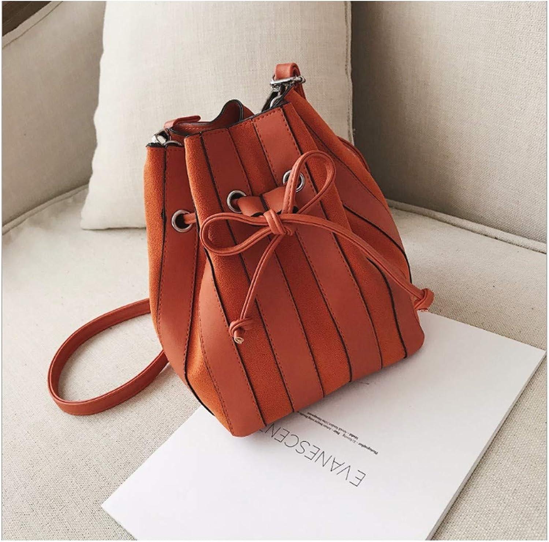 XUZISHAN Damen Beutel Eimer Tape Handtasche Pure Farbe Schleifen Leder Messenger Bag Fashion Simple Crossbody Single Schultertasche B07MN1PC15  Hervorragender Stil