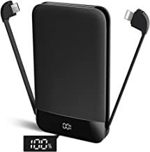 Mini Power Bank Built in Cables USB C Portable Charger 9000mAh Ultra Slim External Battery Pack with LCD Display for iPhone iPad Android Samsung Galaxy and More