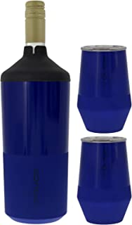 Reduce Wine Cooler Set - Stainless Steel Wine Bottle Cooler Set with 2 12oz Insulated Wine Tumblers - Keep Wine at the Perfect Temperature, No Ice Required, Fits Most Wine Bottles - Navy
