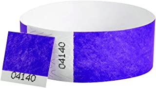 WristCo Purple 3/4 Inch Voucher Detachable Stub 500 Count Paper Wristbands for Events