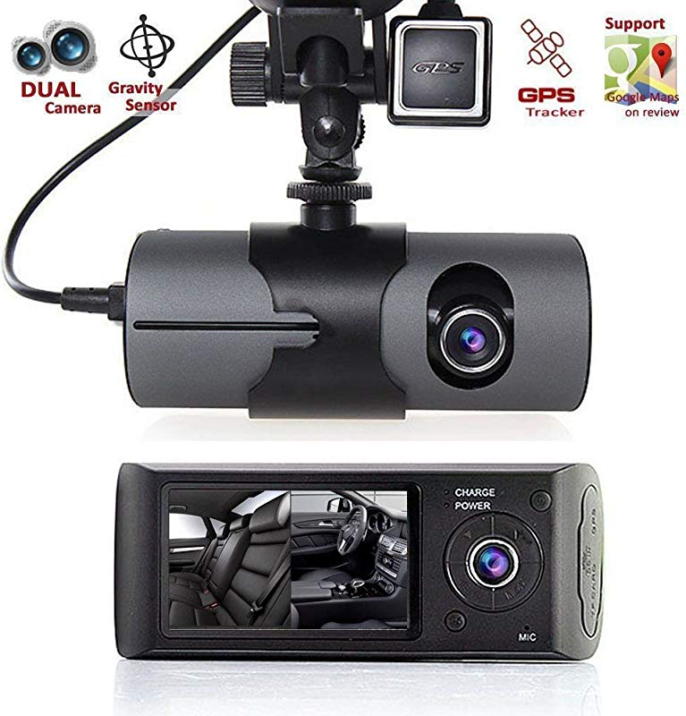 KUNAW 2 7 Vehicle Car DVR Camera Video Recorder Dash Cam G Sensor GPS Dual Len Camera