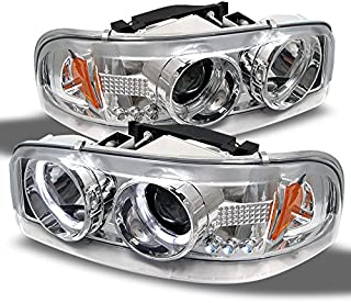 For GMC Sierra Yukon Denali Pickup Chrome Halo Ring LED Projector Replacement Headlights Left/Right Pair