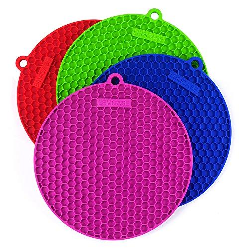 LEMCASE Topf-Untersetzer, Silikon Topflappen ( Runde, 4 Stück ) Multifunktional und Hitzebeständig | Bunt
