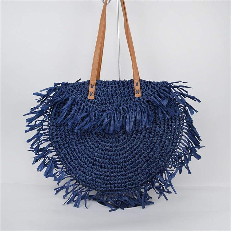 オアシス一般事業内容ストローバッグ ストローバッグレディースワンショルダータッセルの女性のバッグラウンドフラップバッグ 外出や買い物に最適 (Color : Blue, Size : One size)