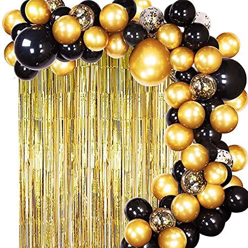 Qyaml Kit De Guirnalda De Arco De Globos De Oro Negro, con Globos De Látex Y Globos De Confeti para Decoraciones De Fiesta De Bautismo De Bebé De Boda De Cumpleaños