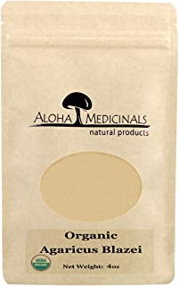 Aloha Medicinals - Pure Agaricus Blazei – Certified Organic Mushroom - Natural Health Supplement – Supports Cardiovascular, Liver, Gut, Joint, Energy Function – Insulin Control - 4oz Bag (Powder)