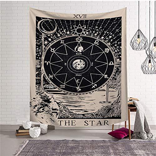GenericBrands Galaxy Starry Moon Phase Acuarela Floral Tapiz de Flores Tapiz Tapiz Tapiz para Dormitorio Sala de Estar Dormitorio