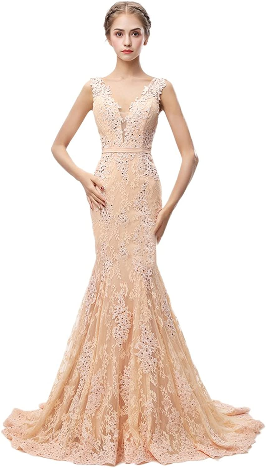 Yiweir Women's Long Sleeveless Champagne Deep V Neck Dress Lace Sequin Prom Gown