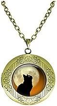 Black Cat Moon Locket Necklace - Halloween Cat Jewelry - Black Cat Profile Full Moon