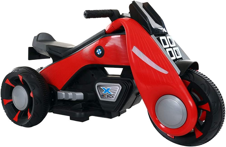 MEILA Kinder Elektrische Motorrad Junge Mdchen Baby Dreirad Doppelantrieb Kind Spielzeugauto Sitzen Menschen Lade Groe Sport Stil Kinder Reiten Auf Elektrofahrrad (Farbe   rot)