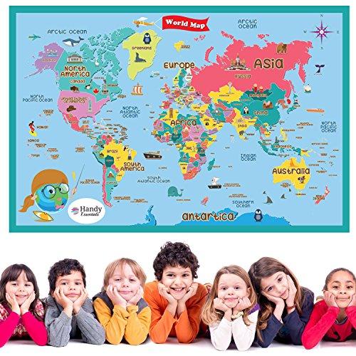 Handy Essentials Kids World Map, Dry Erase Map,Wall Decals [24 x 36 inches]