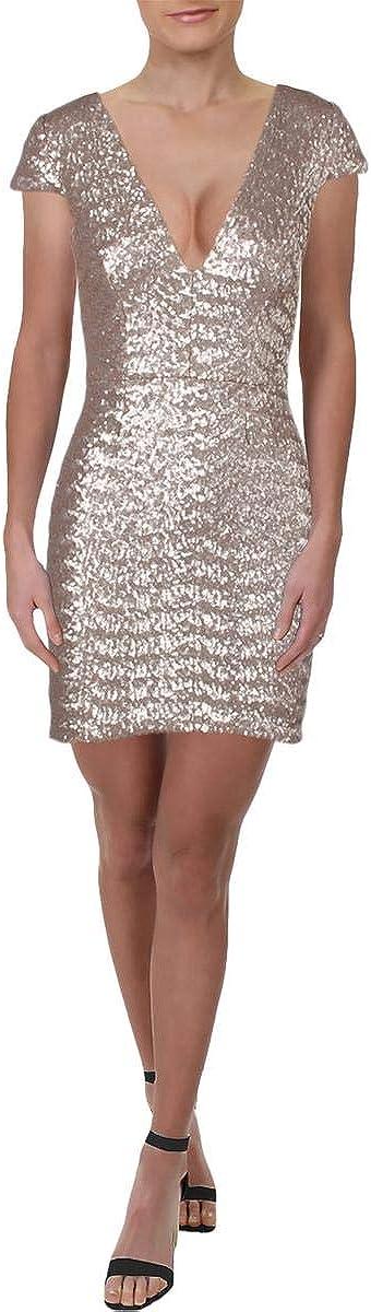 Dress the Population Women's Zoe Plunging Sequin Mini Dress, ice pink, m