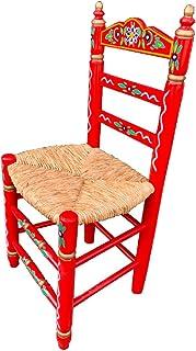 Silla Sevillana de Madera Color Rojo Decorada Artesanalmente con Asiento de Enea Natural. Incluye 1 Unidad.