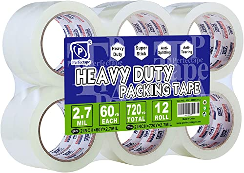 """PERFECTAPE Heavy Duty Packing Tape 12 Rolls, Clear, 2.7 mil, Ultra Adhesive, 1.88"""" x 60 Yards, Refill for Packaging, ..."""