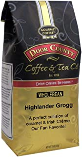 Door County Coffee, Highlander Grogg, Irish Creme and Caramel Flavored Coffee, Medium Roast, Whole Bean Coffee, 10 oz Bag