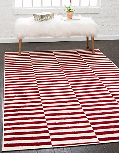 Unique Loom Williamsburg Collection Low Pile Height Casual Striped Red Area Rug (8' x 10')