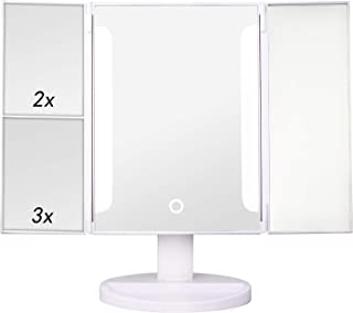 CREASHINE Makeup Mirror Lighted Makeup Vanity Mirror Tri-fold with 1x/2x/3x Magnification, 36 LED Lights Bright Natural wi...
