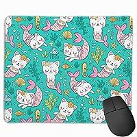 猫の人魚 マウスパッド ゲーミング オフィス最適 防水 耐久性が良い 滑り止めゴム底 マウスの精密度を上がる 25x30cm