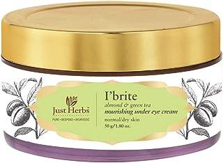 Just Herbs Ayurvedic I'Brite Almond-Green Tea Nourishing Under Eye Cream for Dark Circles & Puffiness - 50 GM
