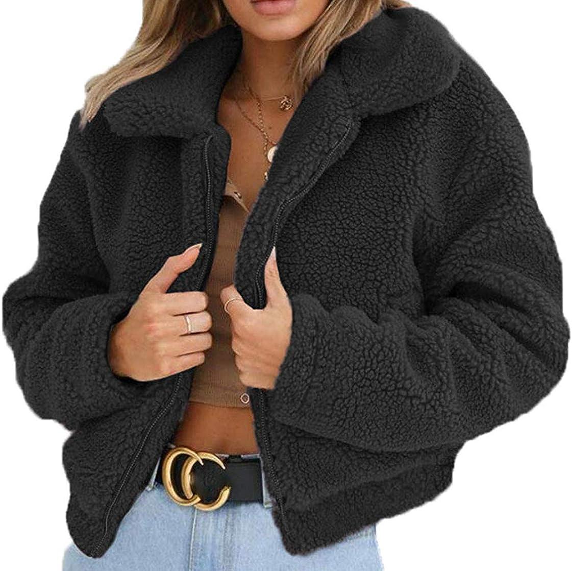 N //A Fluffy Women Coats Faux Wool Blend Warm Winter Lapel Jacket Zip Up Long Sleeve Short Fashion Outerwear